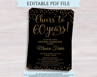 60th Birthday Invite Etsy