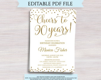 90th Birthday Invitations Etsy