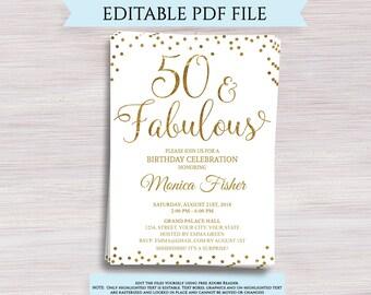 50 and fabulous invitations etsy