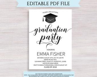 Graduation Party Invitation Template Etsy