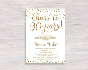 Cheers To 90 Years Birthday Party Invitation Gold Or Silver 90th Invite Adult Bday Invitations Digital Printable