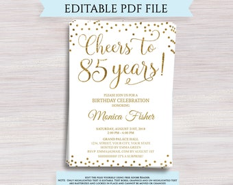 Editable 85th Birthday Party Invitation Template Cheers To 85 Years Anniversary Gold Invite Digital Printable PDF