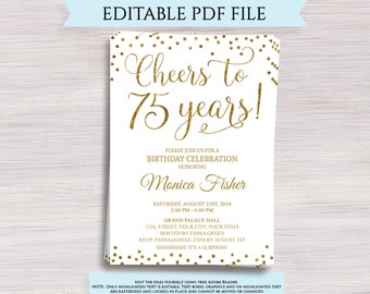 Editable 75th Birthday Party Invitation Template Cheers To 75 Years Anniversary Gold Invite Digital Printable PDF