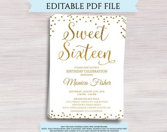 Editable Sweet Sixteen Invitation Template 16th Birthday Party Invite Gold 16 Girls Bday Digital Printable PDF