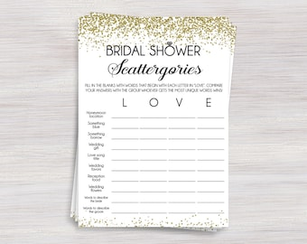 bridal shower scattergories game funny bridal shower games gold confetti shower ideas bachelorette wedding shower engagement party game