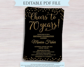 Cheers To 70 Years Editable 70th Birthday Party Invitation Template Anniversary Black And Gold Invite Digital PDF