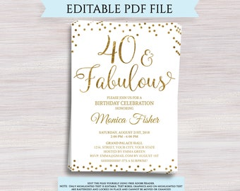 Editable 50th Birthday Party Invitation Template 50 And Etsy