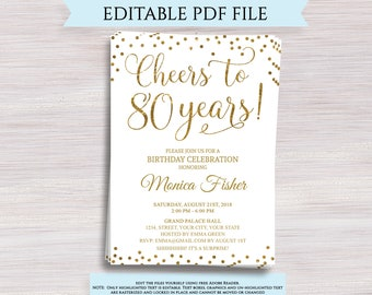 80th birthday invitations etsy editable 80th birthday party invitation template cheers to 80 years 80th anniversary invitation gold birthday invite digital printable pdf filmwisefo
