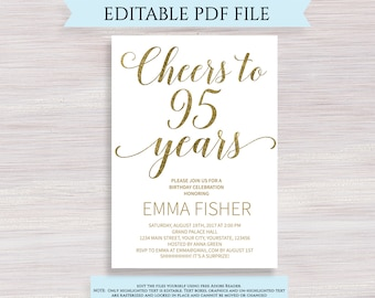 Editable 95th Birthday Party Invitation Template Cheers To 95 Years Anniversary Gold Invite Printable Digital PDF