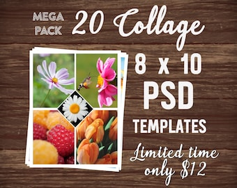 mega pack 12x12 photo collage template package psd template etsy
