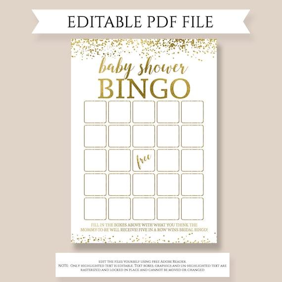 Baby Bingo Editable Pdf Template Baby Shower Bingo Funny Etsy