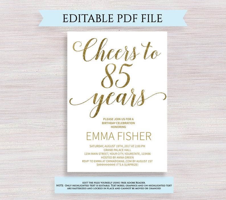 Editable 85th Birthday Party Invitation Template Cheers To 85 Years Anniversary Gold Invite Printable Digital PDF