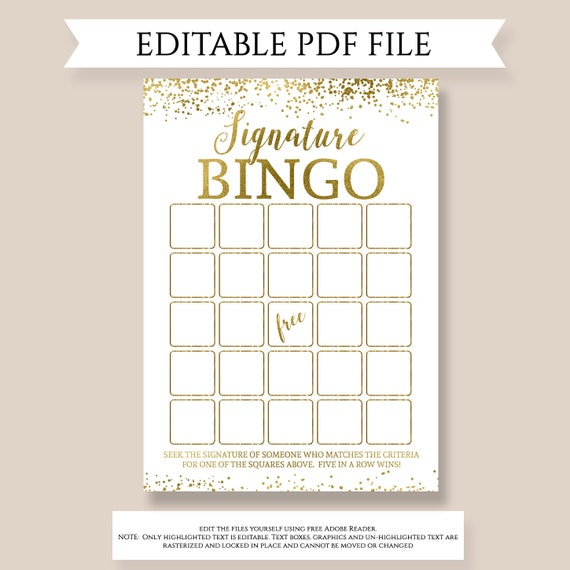 signature bingo editable bingo template birthday bingo etsy