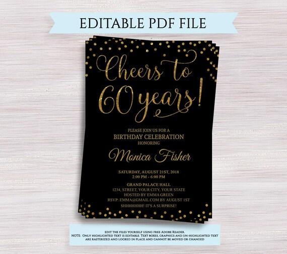Cheers To 60 Years Editable 60th Birthday Party Invitation Template 60th Anniversary Invitation Black And Gold Birthday Invite Digital Pdf