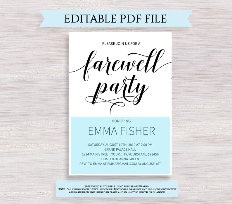 Editable Farewell Party Invitation Template Black and ...