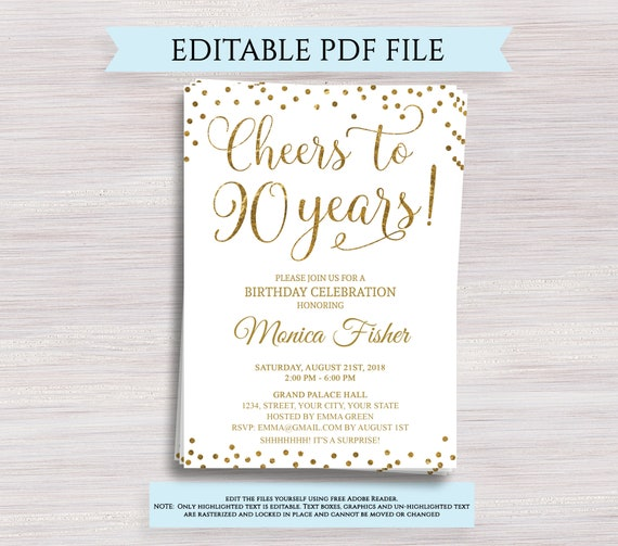 Editable 90th Birthday Party Invitation Template Cheers To 90