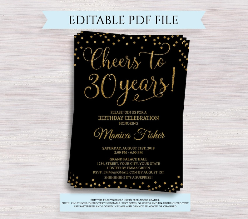 Cheers To 30 Years Editable 30th Birthday Party Invitation Template Anniversary Black And Gold Invite Digital PDF