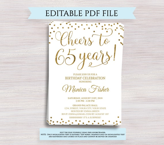Editable 65th Birthday Party Invitation Template Cheers To 65 Years Anniversary Gold Invite Digital Printable PDF