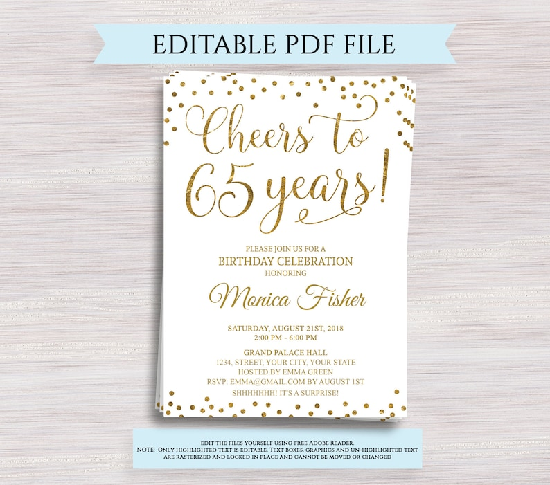 Editable 65th Birthday Party Invitation Template Cheers To 65
