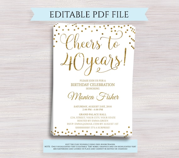 Editable 40th Birthday Party Invitation Template Cheers To 40 Years 40th Anniversary Invitation Gold Birthday Invite Digital Printable Pdf