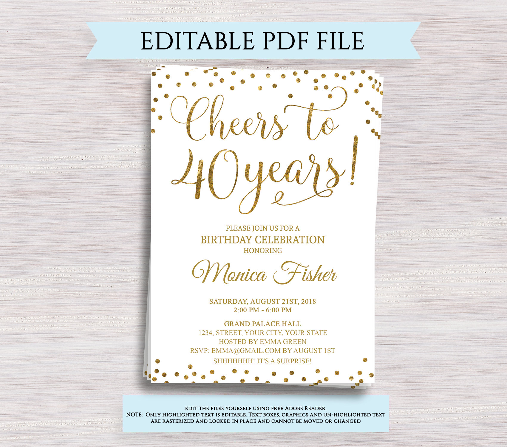 Editable 40th Birthday Party Invitation Template Cheers To 40