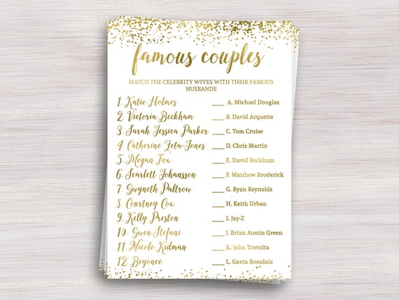 Famous Couples Funny Bridal Shower Games Gold Shower Ideas Bachelorette Games Wedding Activity Engagement Party Celebrity Couples Quiz