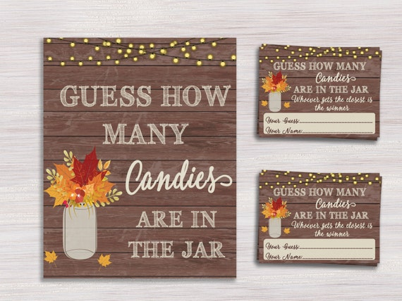 Fall Baby Shower Games Guess How Many Candies Cards And Sign Etsy