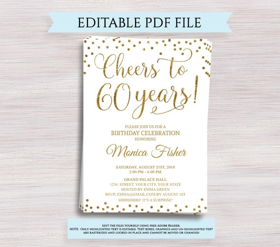 Editable 60th Birthday Party Invitation Template Cheers To 60 Etsy
