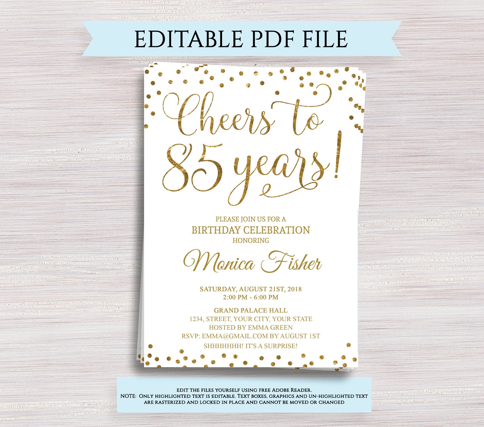 Editable 85th Birthday Party Invitation Template Cheers To 85