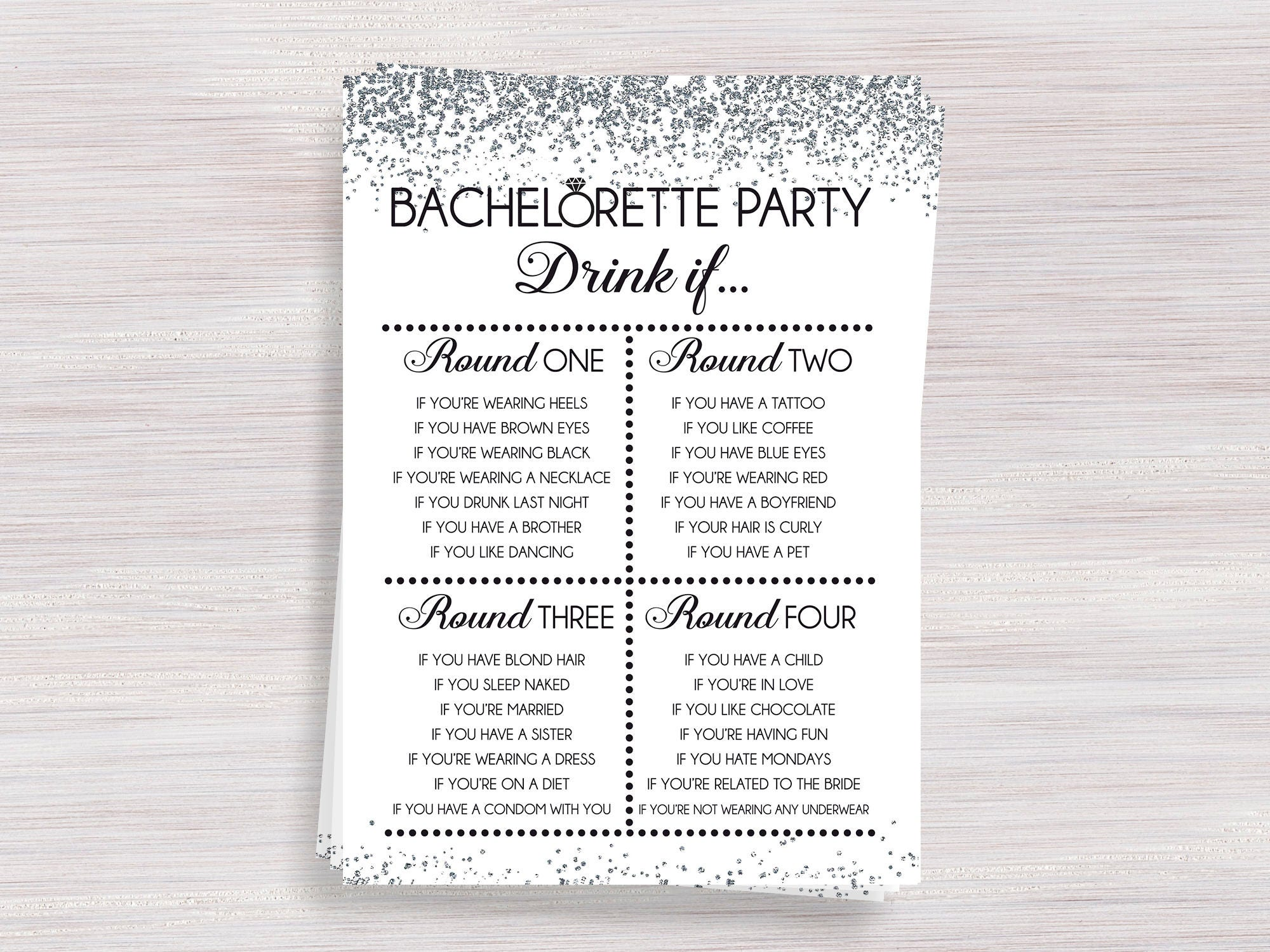Bachelorette party drinking game Drink if Hens party games