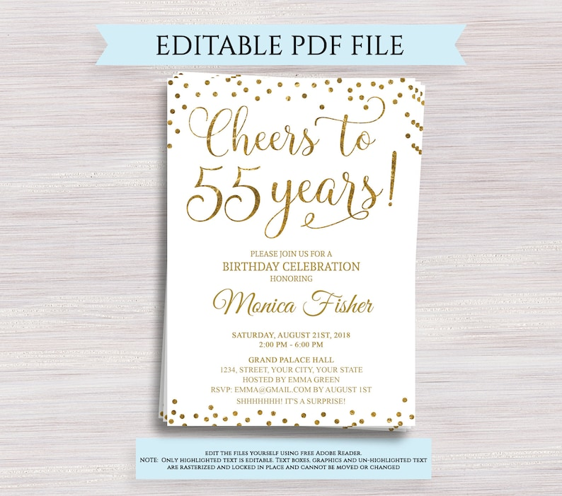 Editable 55th Birthday Party Invitation Template Cheers To 55 Years Anniversary Gold Invite Digital Printable PDF
