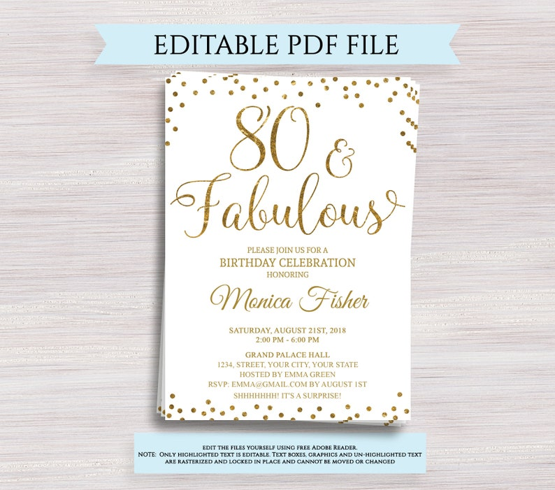 Editable 80th Birthday Party Invitation Template 80 And