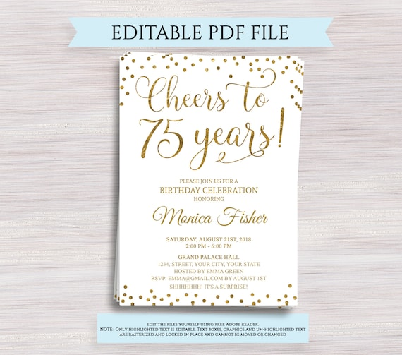Editable 75th Birthday Party Invitation Template Cheers To 75 Years 75th Anniversary Invitation Gold Birthday Invite Digital Printable Pdf