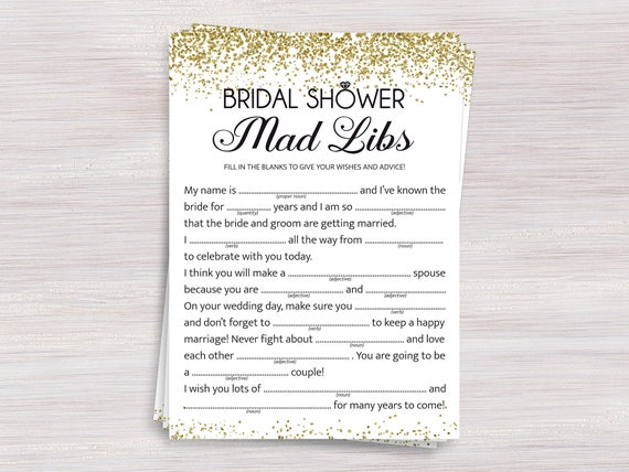 bridal shower mad libs funny bridal shower games gold confetti shower ideas bachelorette wedding shower activity bridal advice