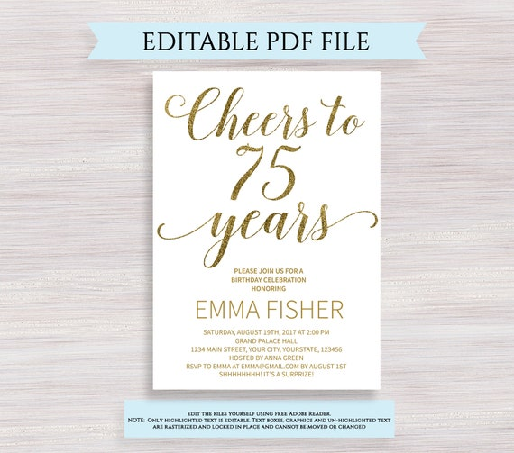 Editable 75th Birthday Party Invitation Template Cheers To 75 Years Anniversary Gold Invite Printable Digital PDF