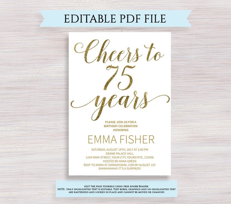 Editable 75th Birthday Party Invitation Template Cheers To 75