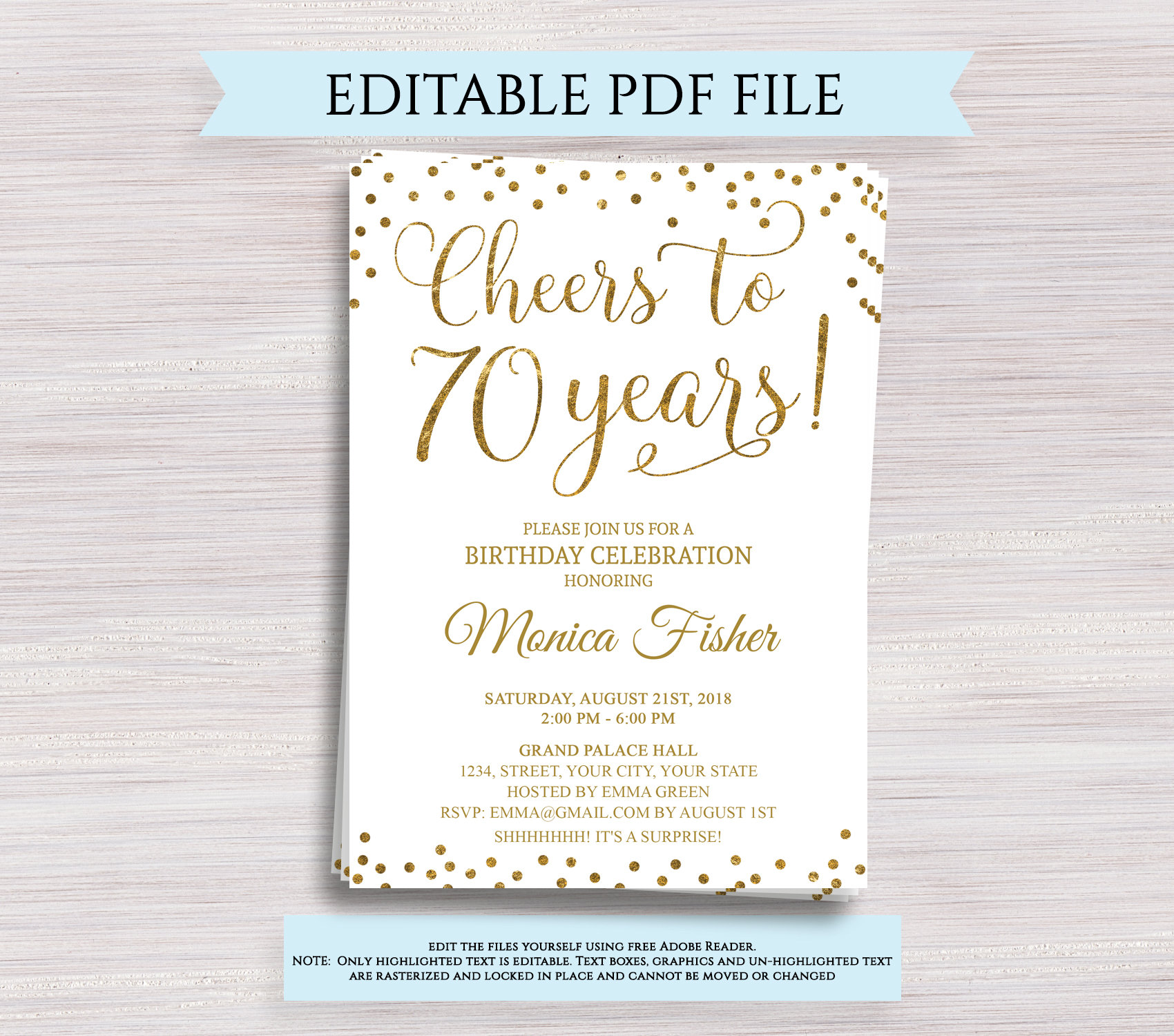 editable 70th birthday party invitation template cheers to
