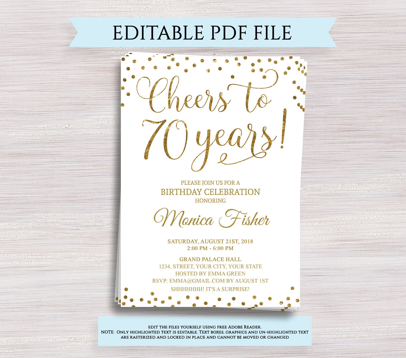 This is a photo of Transformative Free Printable 70th Birthday Cards