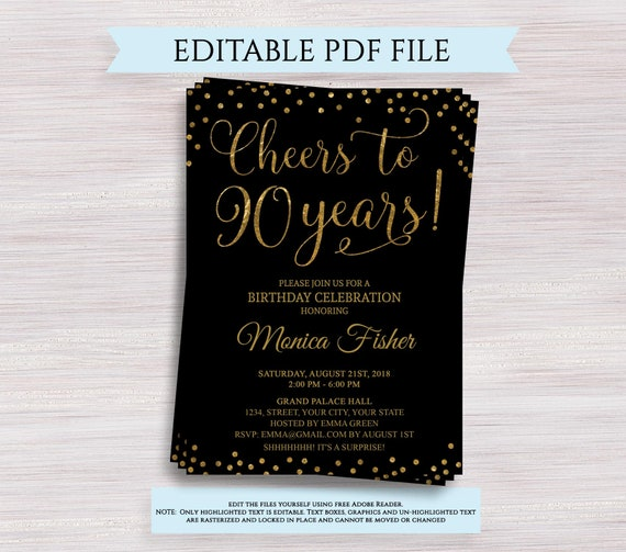 Cheers To 90 Years Editable 90th Birthday Party Invitation