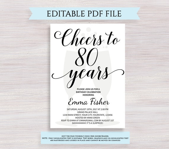 editable 80th birthday invitation template cheers to 80