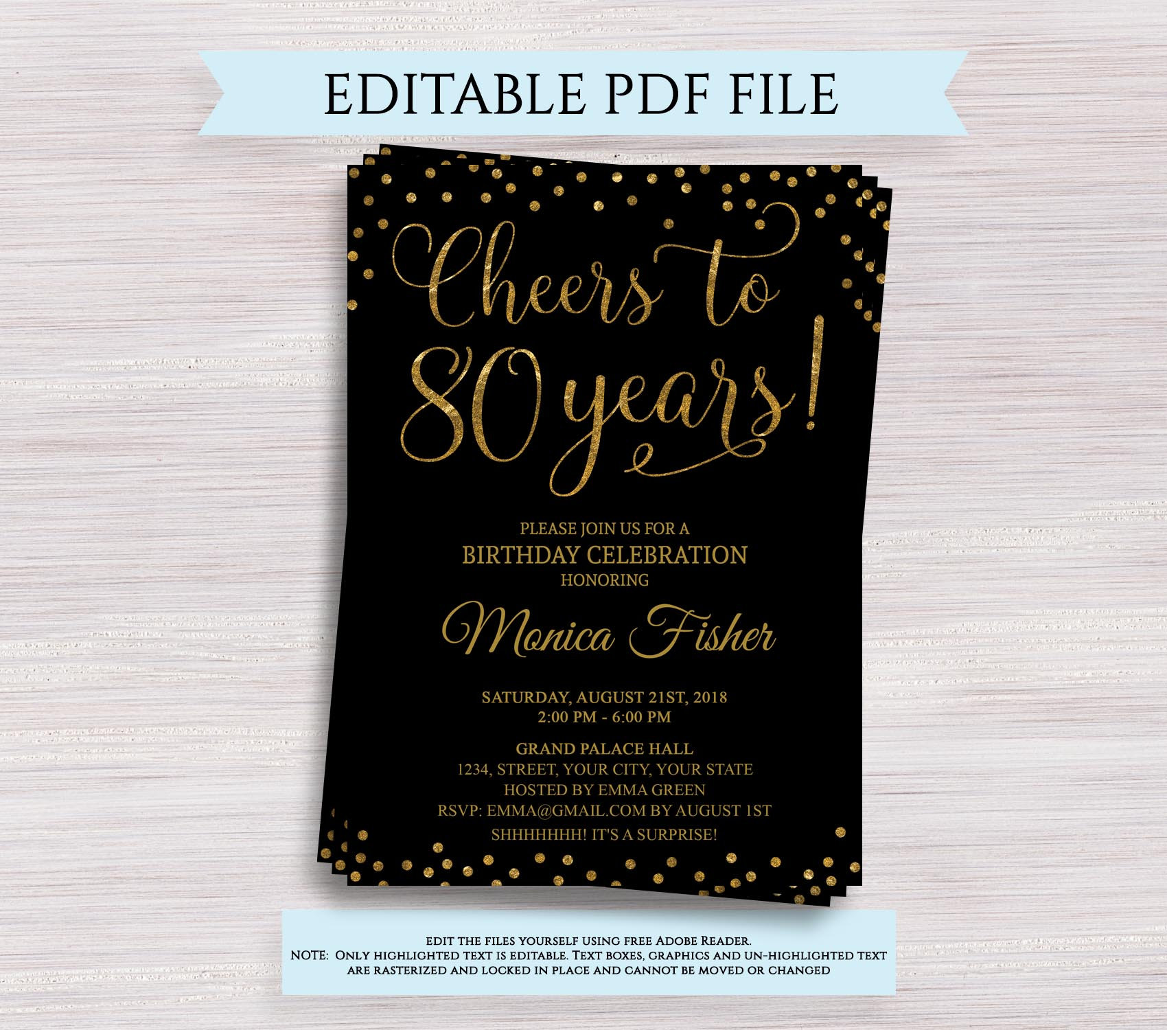 Cheers To 80 Years Editable 80th Birthday Party Invitation