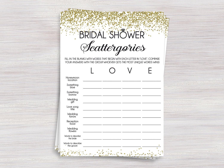 Bridal Shower Scattergories Game Funny Bridal Shower games | Etsy