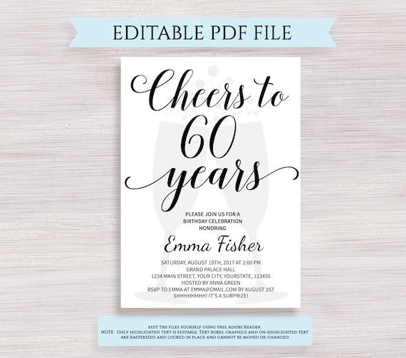 editable 60th birthday invitation template cheers to 60