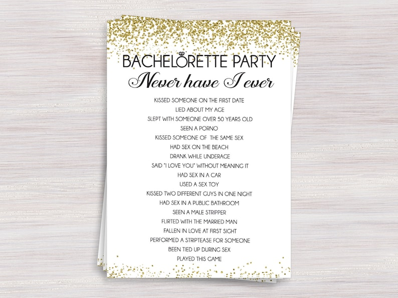 01127e6084 Never Have I Ever, Bachelorette party drinking game, Hens night fun games,  Black Gold Bachelorette ideas, Bachelorette Activity, Funny Games