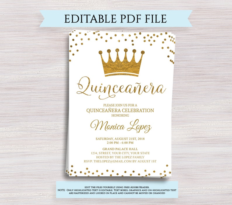 Editable Quinceanera Invitation Template 15th Birthday Party Invite Gold Quince Anos Digital Printable PDF