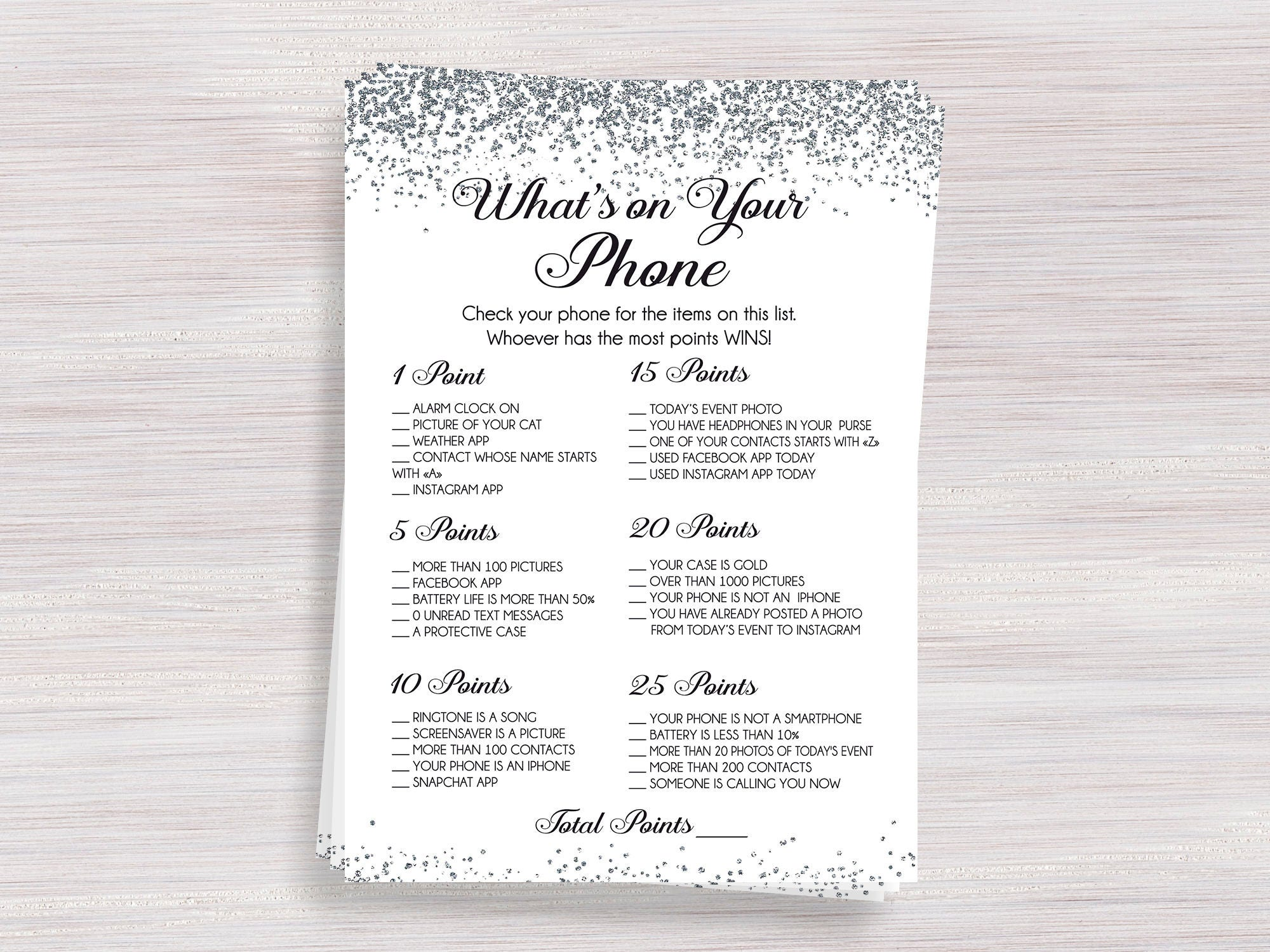873e826d6 What's on Your Phone Funny Bridal Shower games Silver | Etsy