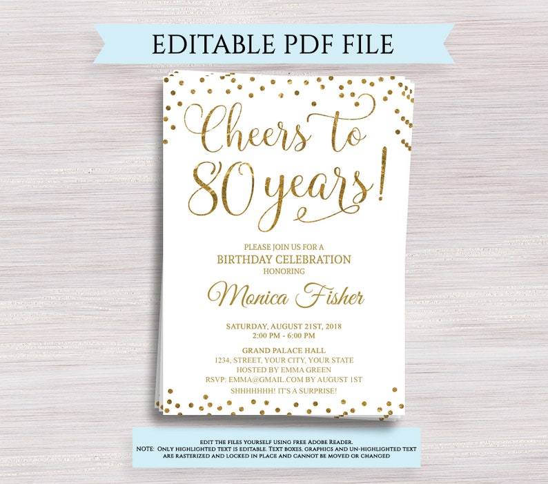 picture about 80th Birthday Invitation Templates Free Printable identify Editable 80th Birthday Celebration Invitation template, Cheers in direction of 80 Decades, 80th Anniversary invitation Gold Birthday invite Electronic Printable PDF
