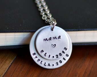 Personalized Mom Necklace, Hand Stamped Jewelry, Personalized Jewelry for Moms, Necklace with Kids' Names, Unique Mother's Day Gift for Mom