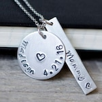 Unique Mothers Day Gift for New Mom, Personalized Mom Necklace with Kids' Names, Hand Stamped Jewelry, Baby Name Necklace for Mom