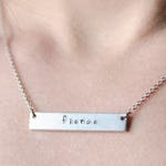 Engraved Bar Necklace, Personalized Necklace for Her, Custom Engraved Necklace, Valentines Day Gift for Girlfriend, Fierce Silver Necklace